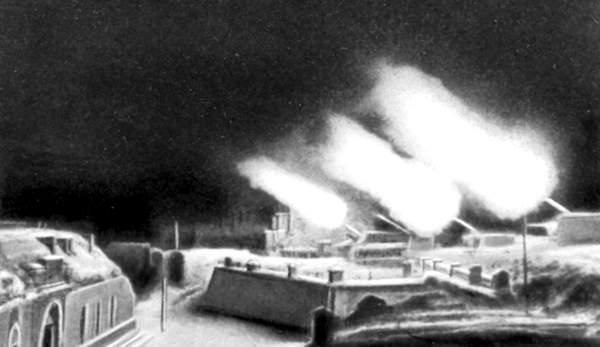 Орудия Форта Красная Горка ведут огонь по противнику