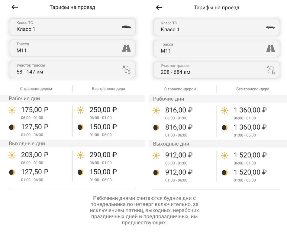 Стоимость проезда Трасса М11 участки Автодора