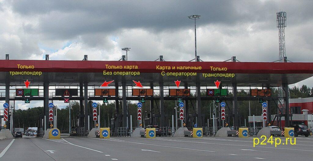 Полосы и обозначения на пунктах взимания платы при въезде на труссу М11