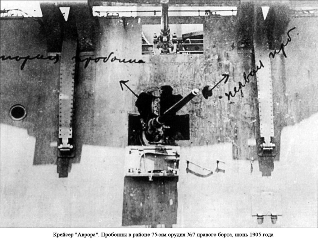 Повреждения крейсер Аврора в Цусимском сражении