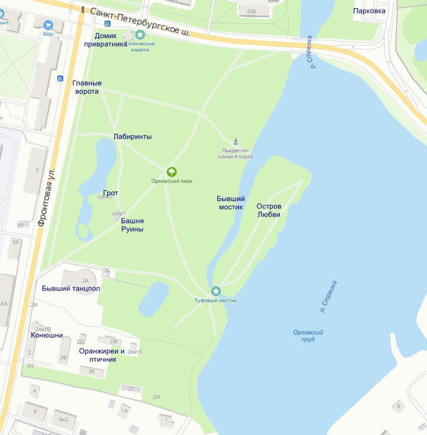 Схема Орловского парка в Стрельне