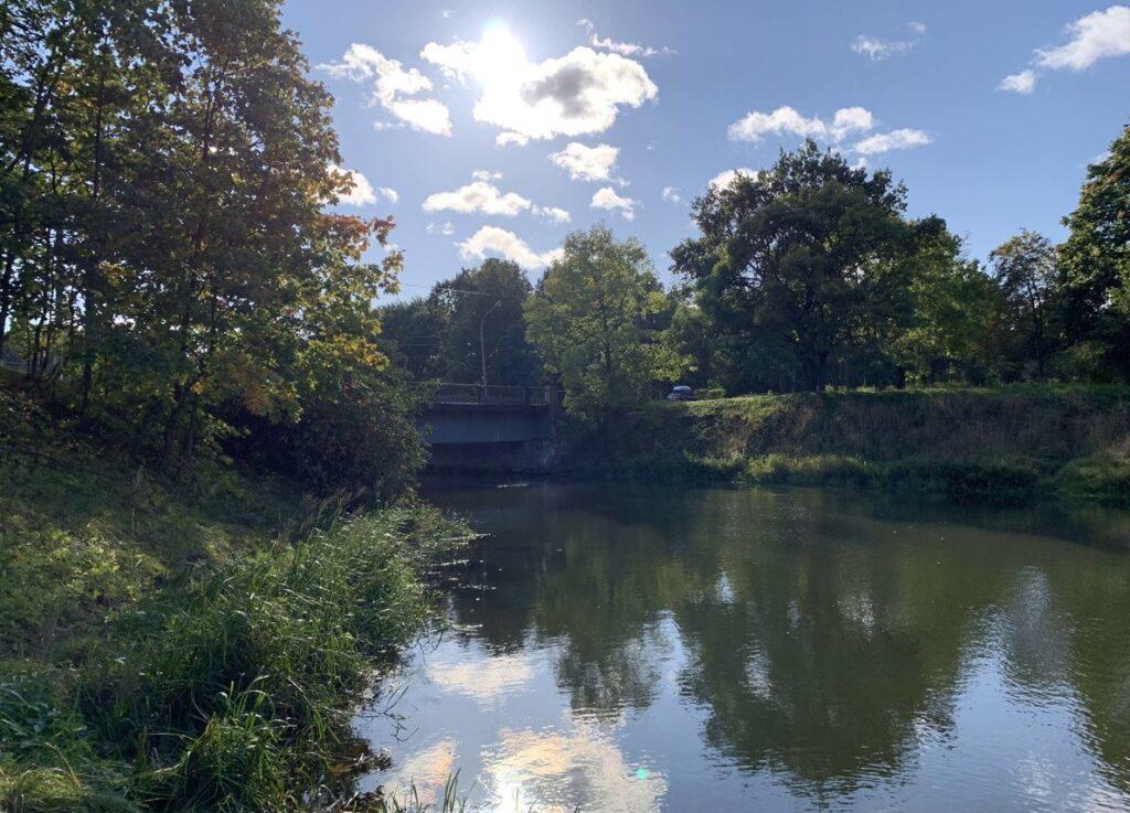 Плотина на реке Стрелка в Стрельне