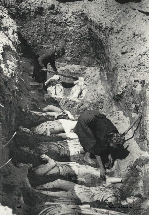 План захоронения мраморной скульптуры Петергофа и их раскопки после войны