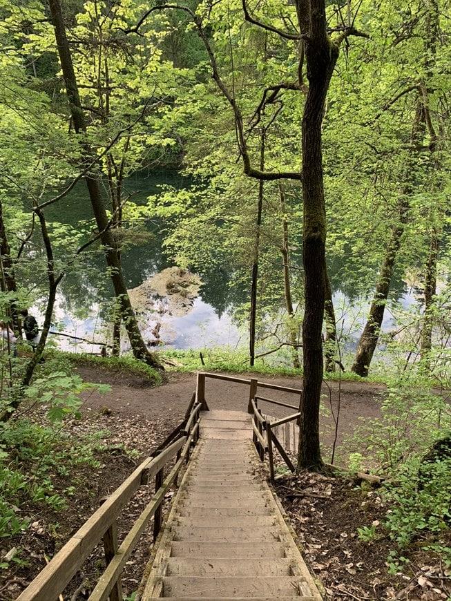 Лестница к радоновому озеру в Лопухинке