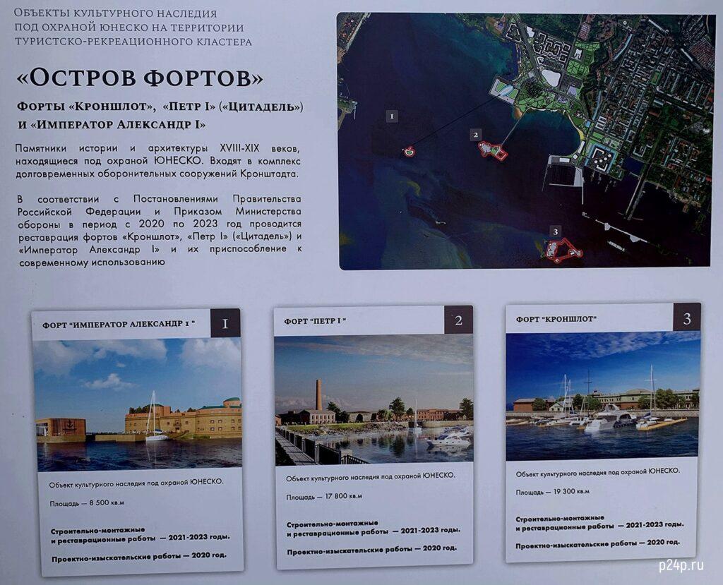 План реставрации фортов в Кронштадте: Кроншлот, Петр 1, Александр 1