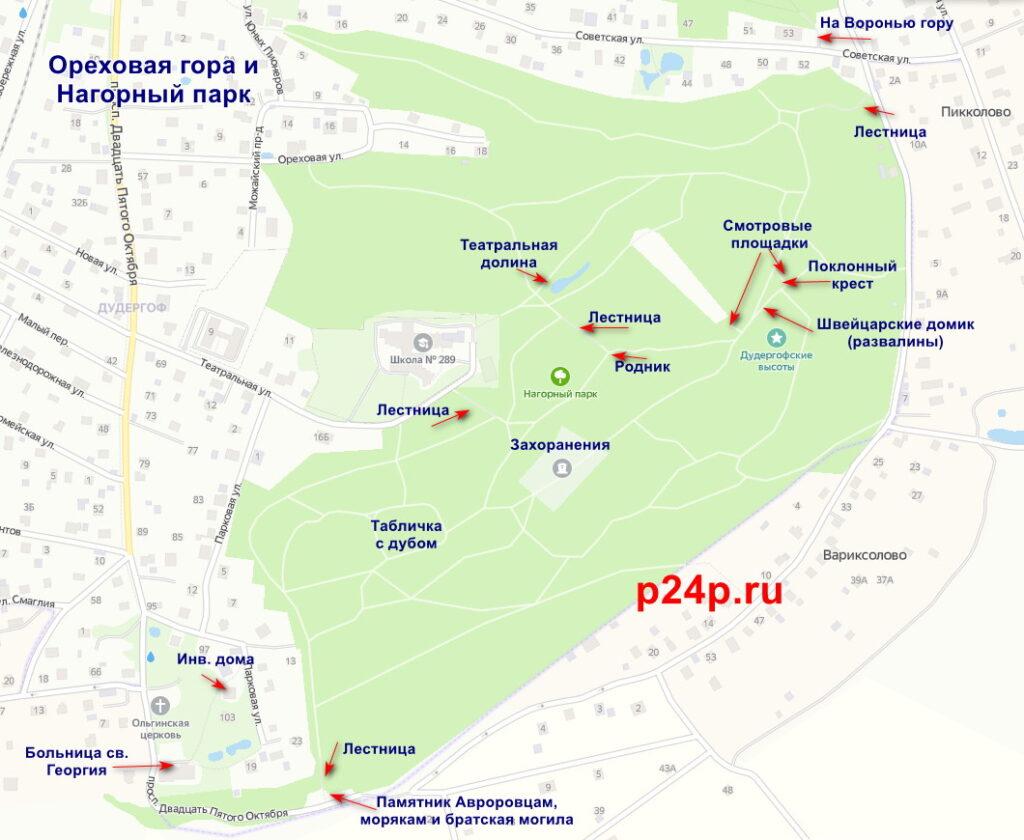 Схема маршрута экотропы Дудергофские высоты по Ореховой горе