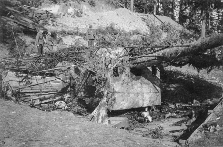 1-е орудие батареи Аврора после боя 11 сентября 1941 г