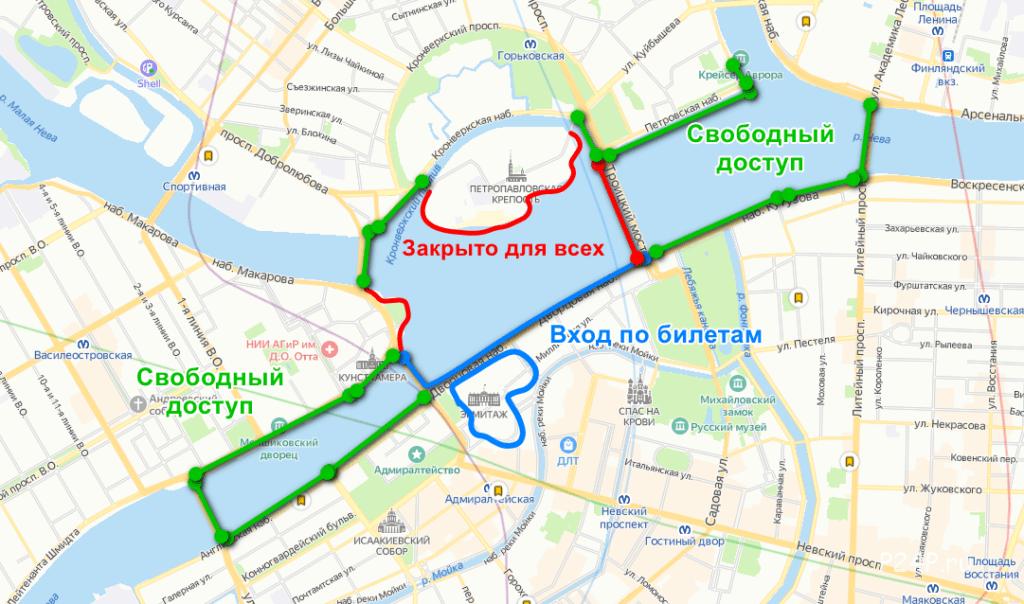 Схема мест откуда лучше всего смотреть Алые паруса в Санкт-Петербурге