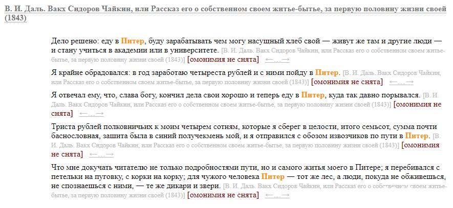 Питер или Петербург как правильно выдержки Даль В.И.