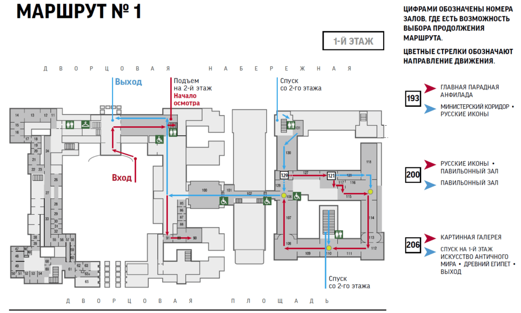 Схема первого этажа маршрута 1 по Эрмитажу