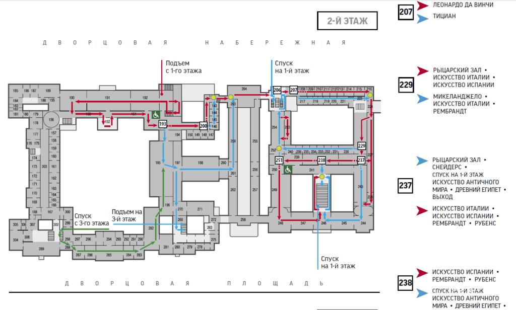 Схема второго этажа маршрута 1 по Эрмитажу