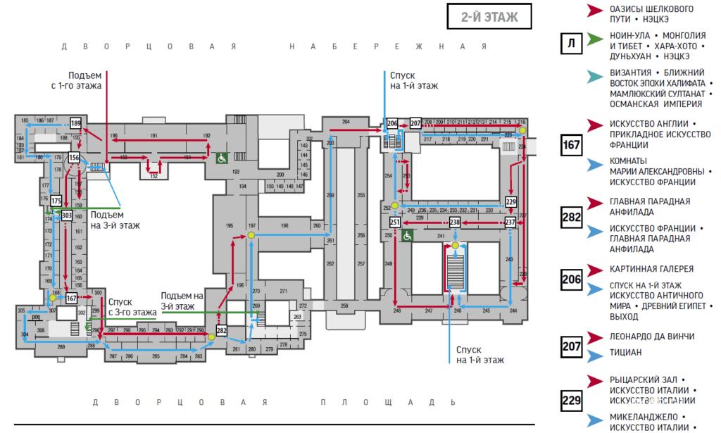 Схема второго этажа маршрута 2 по Эрмитажу